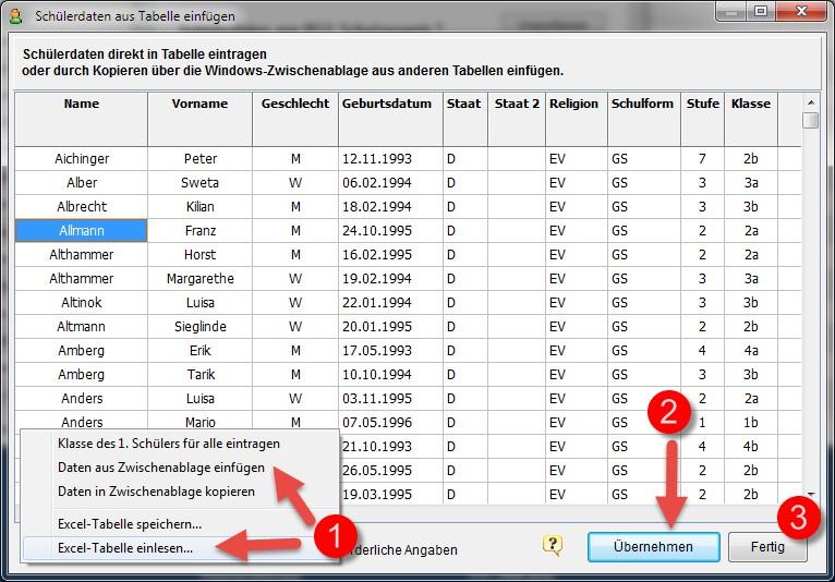 Rorig software hilfe sch lerdaten aus excel tabelle for Tabelle mit 9 spalten